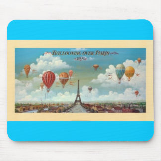 Ballooning Over Paris Print 1890 Mouse Pads