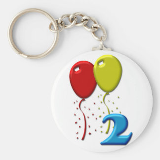 balloons 02 years basic round button key ring