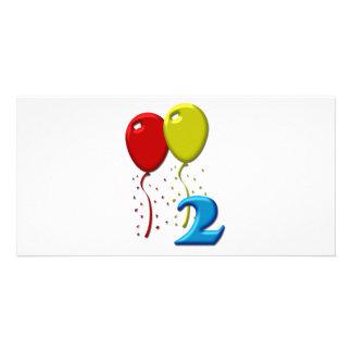 balloons 02 years customised photo card