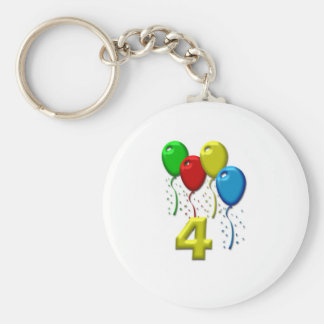 balloons 04 years basic round button key ring