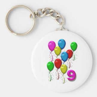 balloons 09 years basic round button key ring
