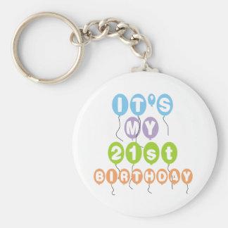 Balloons 21st Birthday Basic Round Button Key Ring
