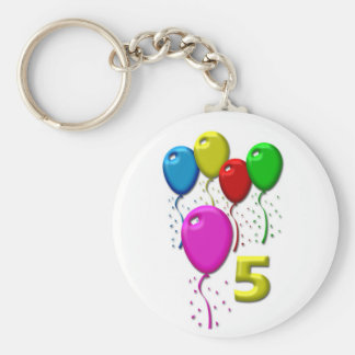 balloons 5 years basic round button key ring