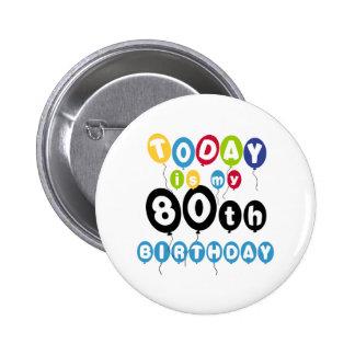 Balloons 80th Birthday 6 Cm Round Badge
