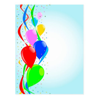 Balloons and Confetti Party Postcard