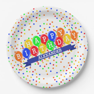 Balloons and Confetti Personalized Birthday Paper Plate