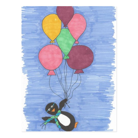 Balloons and Penguin Artist Postcard