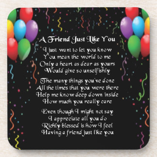 Balloons and Streamers - Friend Poem Coaster
