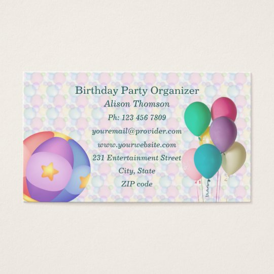 Balloons Birthday Party Organiser Business Card