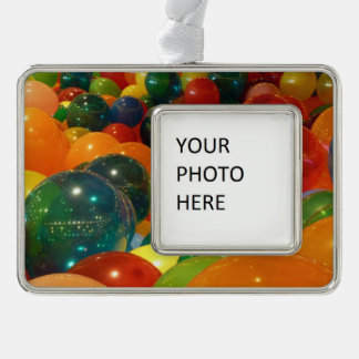 Balloons Colorful Party Design Silver Plated Framed Ornament