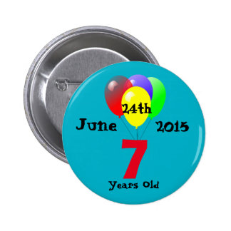 Balloons Design 7 Year Old Birthday Party 6 Cm Round Badge