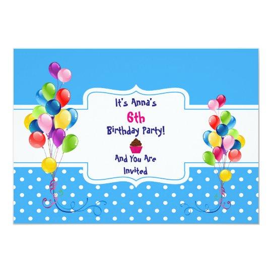 Balloons & Dots Child's Birthday Party Invitation