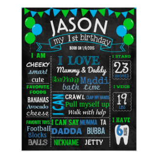 Balloons first birthday chalkboard sign green blue poster