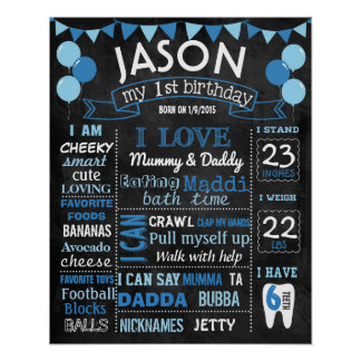 Balloons first birthday chalkboard sign poster