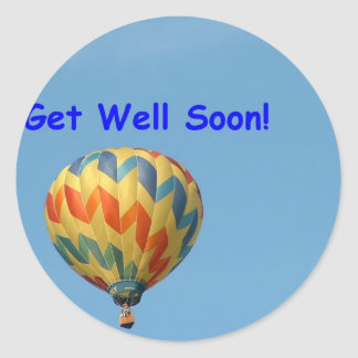 Balloons, get well soon! round sticker