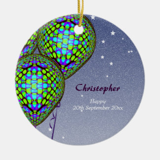 Balloons in Blue and Green Christmas Ornament