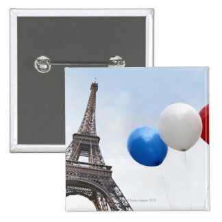 Balloons in the colors of the French flag in 15 Cm Square Badge