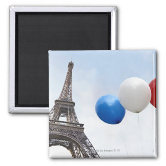 Balloons in the colors of the French flag in Square Magnet