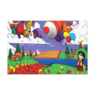 Balloons in the sky. stretched canvas print