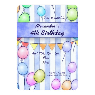 Balloons On Blue Stripes Birthday 13 Cm X 18 Cm Invitation Card