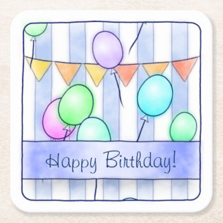 Balloons On Pink Stripes Square Paper Coaster