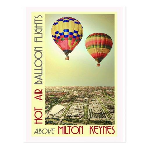Balloons over MK city vintage postcard