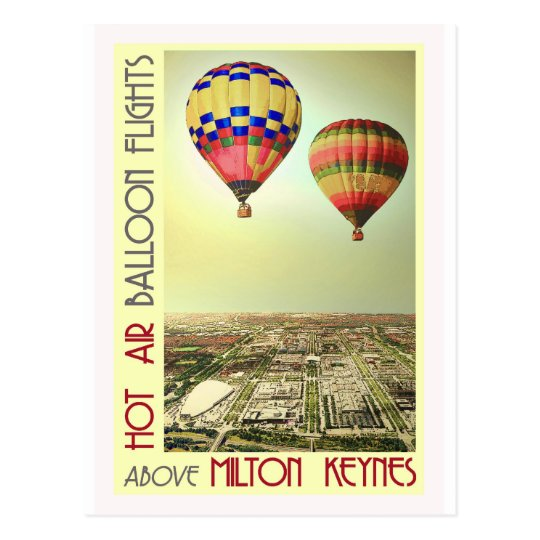 Balloons over MK city vintage postcard