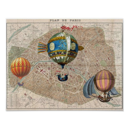 Balloons Over Paris Vintage France Map Poster
