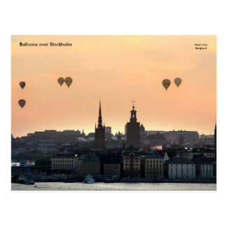 Balloons over Stockholm. Postcard