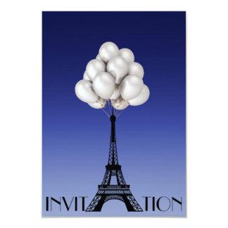 Balloons Paris Eiffel Tower Glam Chic Blue Card