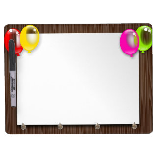 Balloons party paper dry erase board with key ring holder