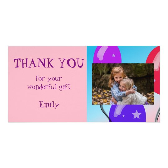 Balloons Personalised Thank you Photo Card