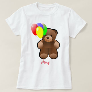 Balloons Print Personalised Teddy Bear T-Shirt