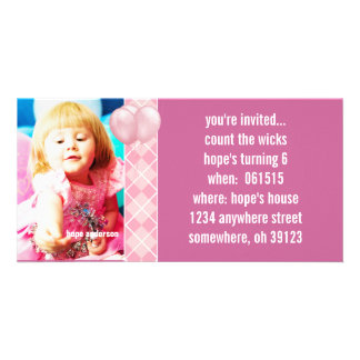 Balloons Raspberry Argyle Birthdy Photo Invitation Personalised Photo Card