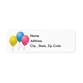 Balloons Return Address Label