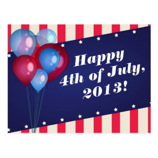Balloons & Stripes 4th of July Party Postcard