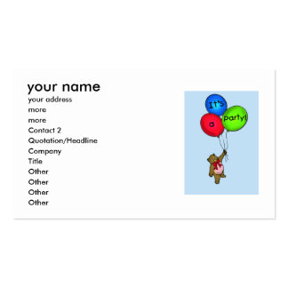 balloons, your name, your address, more , more,... pack of standard business cards