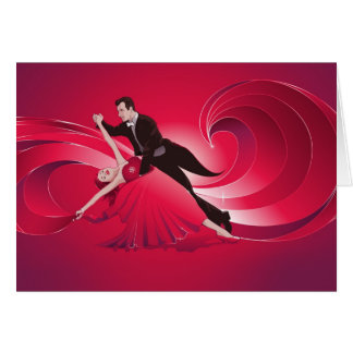 Ballroom dancers greeting card - blank card