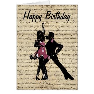Ballroom dancers on vintage paper card