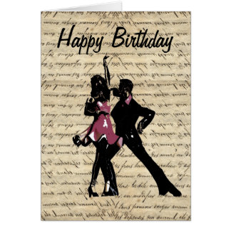 Ballroom dancers on vintage paper greeting card