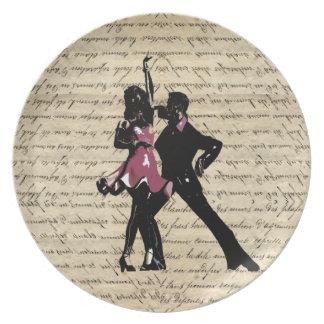 Ballroom dancers on vintage paper dinner plate