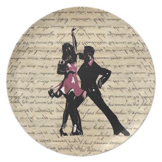 Ballroom dancers on vintage paper plate