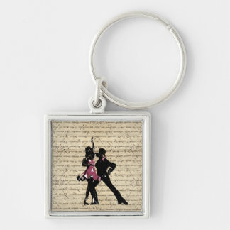 Ballroom dancers on vintage paper Silver-Colored square key ring
