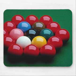 Balls arranged on snooker table mouse pad