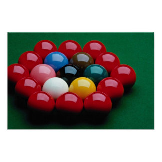 Balls arranged on snooker table poster