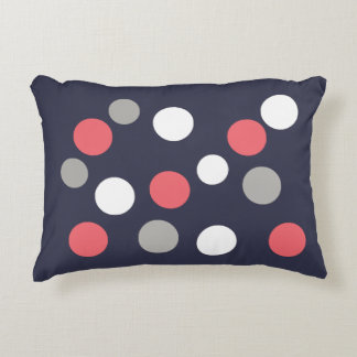 Balls Circles Pattern Grey White Coral Pink Decorative Cushion