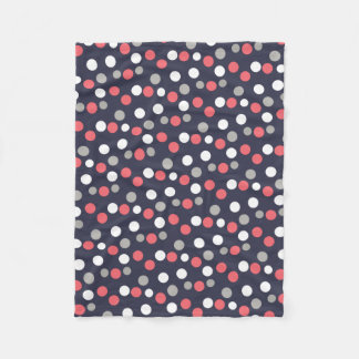 Balls Circles Pattern Grey White Coral Pink Fleece Blanket