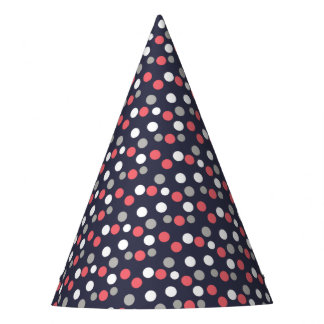 Balls Circles Pattern Grey White Coral Pink Party Hat