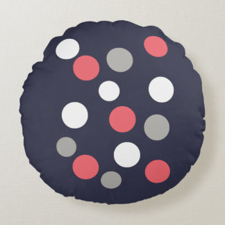 Balls Circles Pattern Grey White Coral Pink Round Cushion