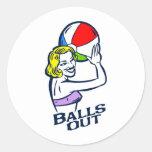 Balls Out Round Sticker